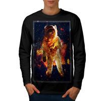 Wellcoda Astronaut Galaxy Space Mens Long Sleeve T-shirt, Space Graphic Design