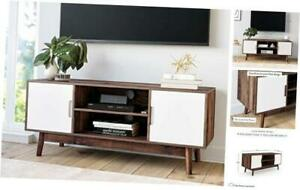 Wesley Scandinavian Media, Entertainment Center with Brown/White TV Stand