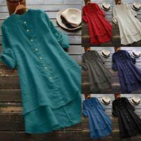 Women Casual Cotton Linen Button Long Sleeve Long Shirt Blouse Tunic Tops UK