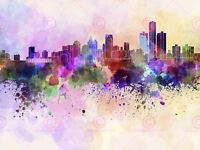 Illustration Cityscape Paint Splash Skyline Detroit Canvas Art Print