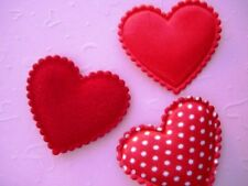 60 mix Heart Felt Fabric Applique/Satin Polka Dot/bow/valentine/sewing H82-Red