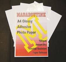 A4 Gloss Adesivo A Getto D'inchiostro Carta Fotografica 135gsm 25 FOGLI GLOSSY etichetta