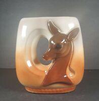 1950s Vintage Royal Copley Ceramic Vase w/ Deer, Deer Planter, Fall Glaze