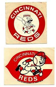 Vintage CINCINNATI REDS Crosley Field RED STOCKINGS & MR. RED Stickers Palm Bros