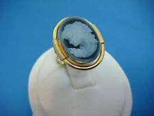 18K YELLOW GOLD ANTIQUE LADIES CAMEO RING, HAND CRAFTED, 4.6 GRAMS, SIZE 5.25
