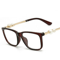 Women Retro Fashion Pearl Clear Lens Glasses Frame Nerd Geek Eyewear Eyeglasse