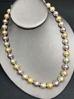 """Vintage Glass  Pearl   Muted Pastel Necklace Hand Knotted 18"""" Crystal Accents"""