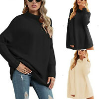 Women Casual Turtleneck Batwing Sleeve Slouchy Oversized Ribbed Knit Sweaters
