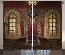 Gothic Curtains Medieval Palace Throne Window Drapes 2 Panel Set 108x84 Inches