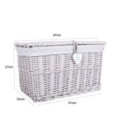 Light Grey Painted Wicker Trunk Baby Nursery Toys Storage Chest Basket Box