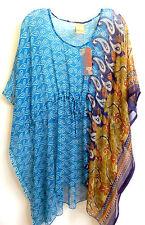 Paisley Caftan Kaftan Semi Sheer Mini Dress Kimono Slv One Size Teal Blue Brown