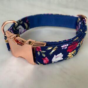 Hunter & co.Navy Blue & Pink Dog Collar Ditsy FloralRose Gold Metal Buckle