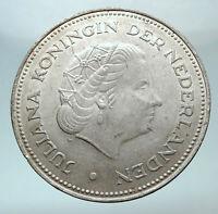 1970 Netherlands Kingdom Queen JULIANA Authentic Silver 10 Gulden Coin i80758