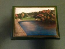 VINTAGE SPALDING GOLF BALLS  MENS JEWELRY BOX 1958 9TH HOLE YALE GOLF COURSE