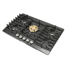 "Modern 30"" Black Titanium 5 Burners & Gold Built-in Stoves NG/LPG Cooktops"