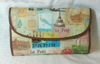 "Colorful Relic Wallet 8"" X 4"" Vintage look French theme patchwork Coated Canvas"