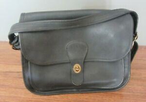 Vintage Coach Rambler - Black Leather, Brass Hardware - 9606, Adjust. Strap