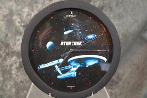 "1992 Star Trek USS ENTERPRISE WALL CLOCK 11""  W/ FREE SHIPPING"