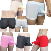 Men's Sheer Mesh Boxer Briefs Long Sheath Underwear Silky Trunk Shorts Lingerie