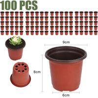 100pcs Strong Plastic Plant Pot Flower Pots Seed Planter Garden Nursery Pots Set