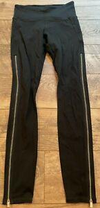 ATHLETA Black High Rise Chaturanga Copper Zipper Tight Leggings wmns XS 871083
