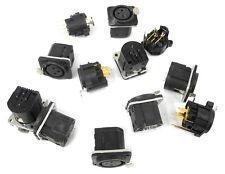 Lot Of 12 Unused Neutrik XLR Female PCB Mount Panel Connectors, 2 Types. CA