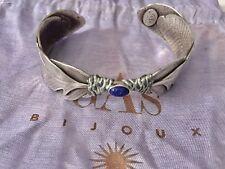 Bracelet Gas Bijoux Style Manchette Plumes Pierre Bleue