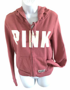 Victoria's Secret PINK Long Sleeve Full Zip Up Hooded Sweatshirt Size Small