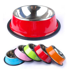 No-Slip Stainless Steel Pet Puppy Cat Dog Food Bowl Drink Water Dish Feeder