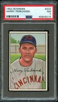 1952 Bowman BB Card #202 Harry Perkowski Cincinnati Reds ROOKIE PSA NM 7 !!!