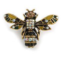 Vintage Inspired Crystal, Enamel Bee Brooch In Gold Tone - 43mm Across