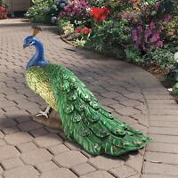 Large Regal Peacock Design Toscano Exclusive Hand Painted Garden Sculpture