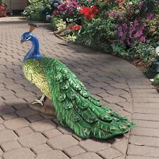 Design Toscano Exclusive Hand Painted Large Regal Peacock Garden Sculpture