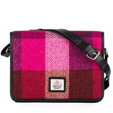 Ladies Harris Tweed Shoulder Bag Pink Squares by Maccessori