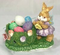 Ceramic Easter Bunny Candle Holder Repurposed Flowers Butterflies Foam Eggs Cute