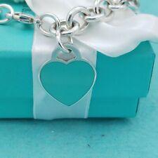 "Genuine Return To Tiffany Sterling Silver Blue Enamel Heart Tag Bracelet 7.5"""