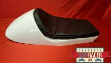 BMW STYLE FIBREGLASS CAFE RACER SEAT FINISHED IN WHITE WITH BASIC BLACK PAD