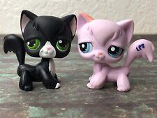 💖🐱Littlest Pet Shop #2012 & #55 Longhair Cat +1 Random LPS Pink Black Rare