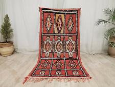 Vintage Moroccan Tribal Handmade Rug 3'x6' Geometric Berber Faded Red Wool Rug