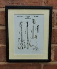 USA Patent Drawing  FENDER PRECISION BASS GUITAR MOUNTED PRINT 1952 Gift