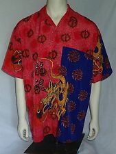 Spider Man Button Front Shirt XL Fire Breathing Dragon Martial Arts Short Sleeve