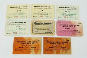 Lot of 8 INDIANAPOLIS 500 Press Passes1968 1970 1971 & Track Passes 1968 & 1971