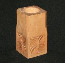 Vintage hand carved floral wood pencil pen holder