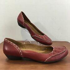 NATURALIZER Natural Soul Red Leather Slip On Loafers Shoes Women's Size 9.5 M