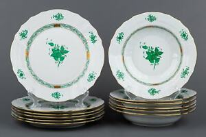 Herend Chinese Bouquet Green Rocaille Plate Set, 12 Pieces #1524 #1501/AV