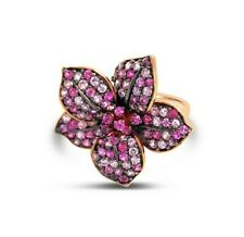 LeVian 14K Rose Gold Pink Sapphire Beautiful Classic Pretty Flower Cocktail Ring