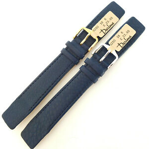18mm DARLENA 1250 NAVY BLUE OPEN ENDED SOFT LUXURY CALF LEATHER WATCH STRAP