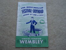 JUNE 1954 THE BOY'S BRIGADE FESTIVAL OF BOYHOOD EMPIRE STADIUM WEMBLEY PROGRAMME