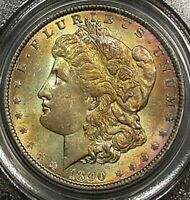 1890 MORGAN SILVER DOLLAR PCGS MS62 BU COLOR TONED GEM IN HIGH GRADE