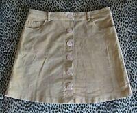 Rare! Vtg 60s70s Camel Brown Chestnut Tan Stretch Cotton Cord Velvet Mini Skirt